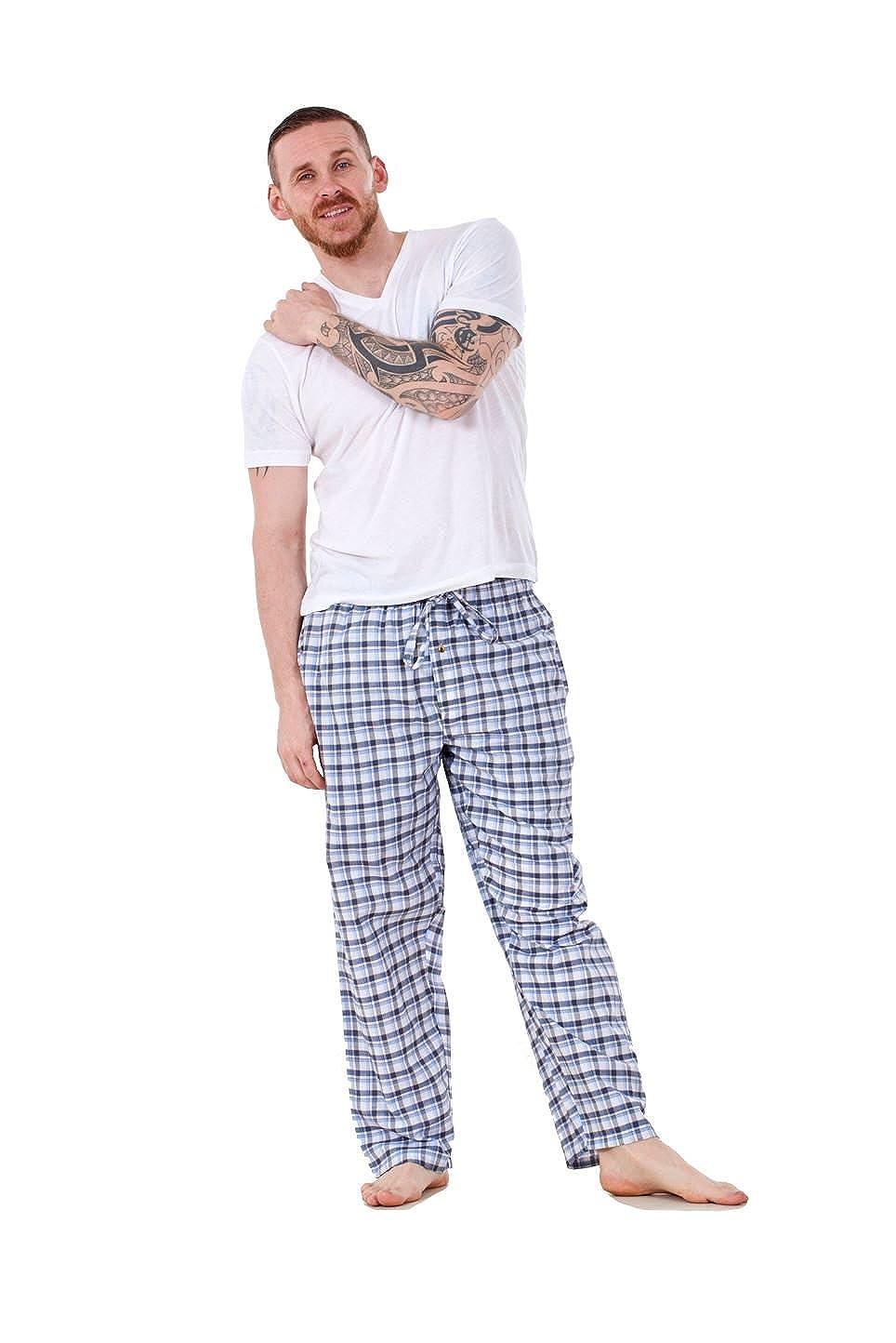 Bay eCom UK Mens Pyjama Bottoms Rich Cotton Woven Check Lounge Pant Nightwear Big 3XL to 5XL Does not Apply