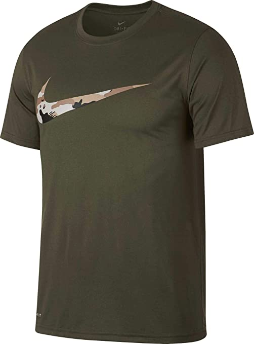 ca3862d97 Nike Men's Dry Legend Camo Swoosh Graphic Tee (Olive Canvas/Desert Sand,  Medium