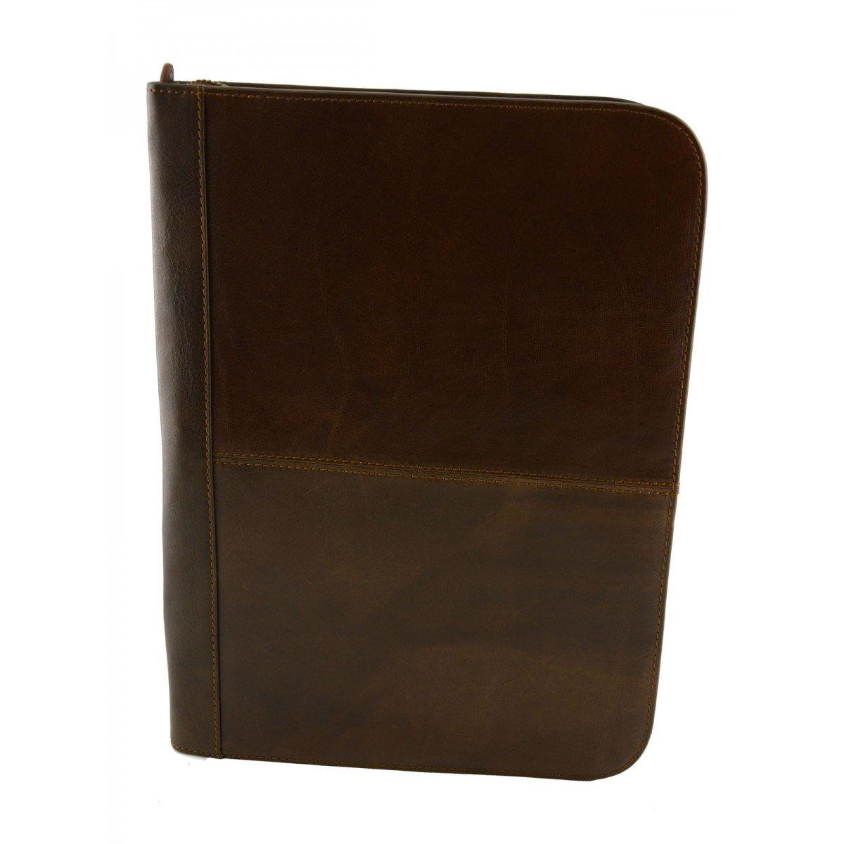 Porta Documenti A4 In Pelle Vera Con Scomparti Interni Colore Marrone - Pelletteria Toscana Made In Italy - Business