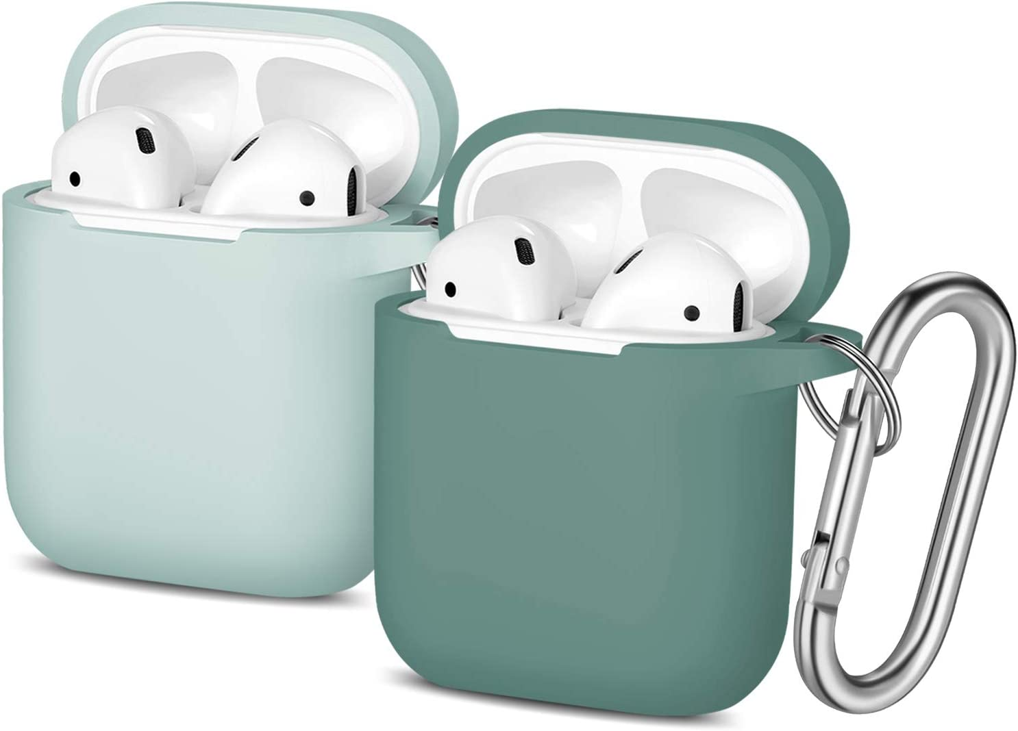 Easuny Silicone Case Compatible for Apple AirPods Matte - 2 Pack Cover for Airpod 2 & 1 Protective Skin [Front LED Visible] Wireless Charging Case Women Men, Pine Green & Aqua