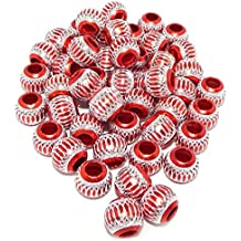 Pro Jewelry (Pack of 50) Silver Plated Red Carved Lantern Aluminium Beads 05868