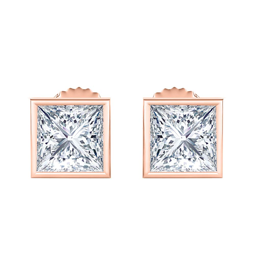 Bezal Set Princess Cut Created Gemstones 9MM Solitaire Stud Earrings 14K Rose Gold Over .925 Sterling Silver