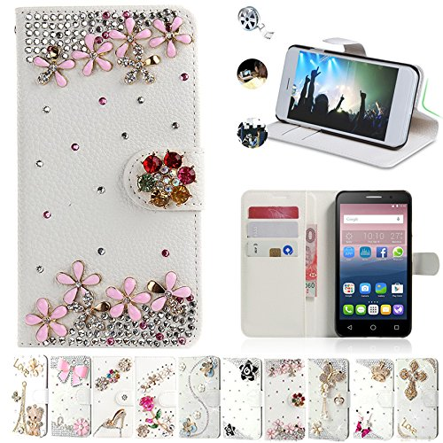 Alcatel One Touch Pop 3 5.5 Cases, AMASELL Glitter Bling Diamonds [Stand View] PU Leather Flip & Card Slot Holder + Side Pocket Magnetic Folio Wallet Cases for Pop 3 5.5 inches Cover, Pink Flower (Phone Case One A Alcatel Touch)