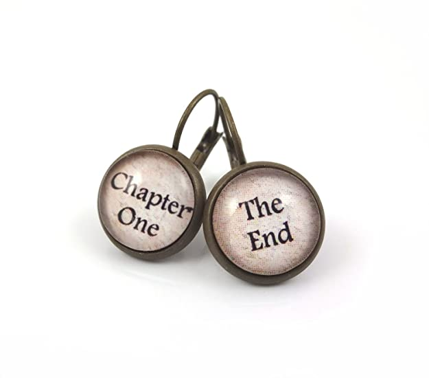 Book Lover Chapter One and the End Earrings in Antique Bronze 12mm Leverback Dangle