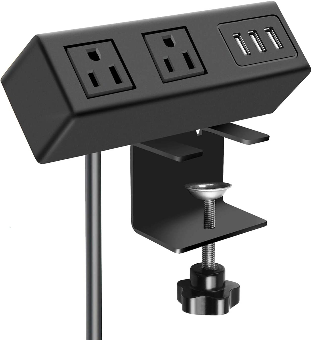 2 AC Outlet Desk Clamp Power Strip, Desk Mount USB Charging Power Station, Removable Desktop Power Center Plugs Output 125V/60HZ/12A/1500W, USB 5V/3A 6.56FT Cable