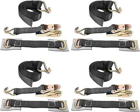 4 pezzi cinghia di fissaggio con cricchetto auto Transport,cinghie da rimorchio Cinghia di ancoraggio con tenditore a cricchetto e ganci per pneumatici