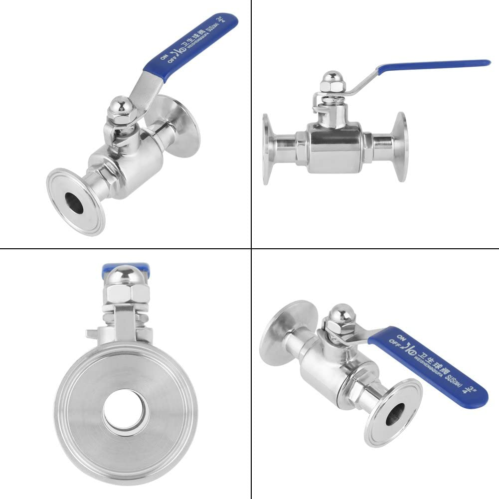 Durable Stainless Steel SUS304 Pipe Ball Valve 3//4 DN20 Shut-Off Valve for Home Brew Beer