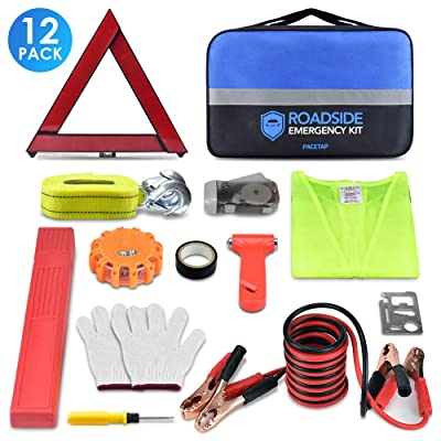 PACETAP Car Roadside Emergency Kit, Essential Auto Safety Road Side Assistance Tool Kit with LED Road Flare, Jumper Cables, Towing Rope, Triangle and More Winter Vehicle Accessories: Automotive