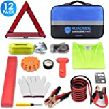 PACETAP Car Roadside Emergency Kit, Essential Auto Safety Road Side Assistance Tool Kit with LED Road Flare, Jumper…