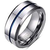Rockyu アクセサリー タングステン リング メンズ シルバー シンプル 指輪 8MM 平打つ つや消す ヘアライン加工 マッド質感 超硬い