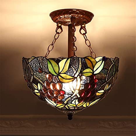 Hyun Times Tiffany 12-Inch Chandelier Stained Glass ...