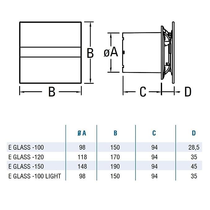 CATA E-120 G  Badlüfter Ventilator 120 mm  Glasfront Modern Leise sehr sparsam