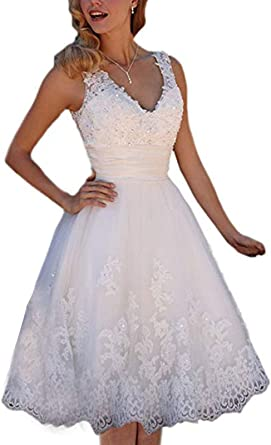 Amazon Com Short Lace Wedding Dresses Knee Length Travel Tulle Rhinestones V Neck Lace Up Bride Gowns Vintage Dress Clothing