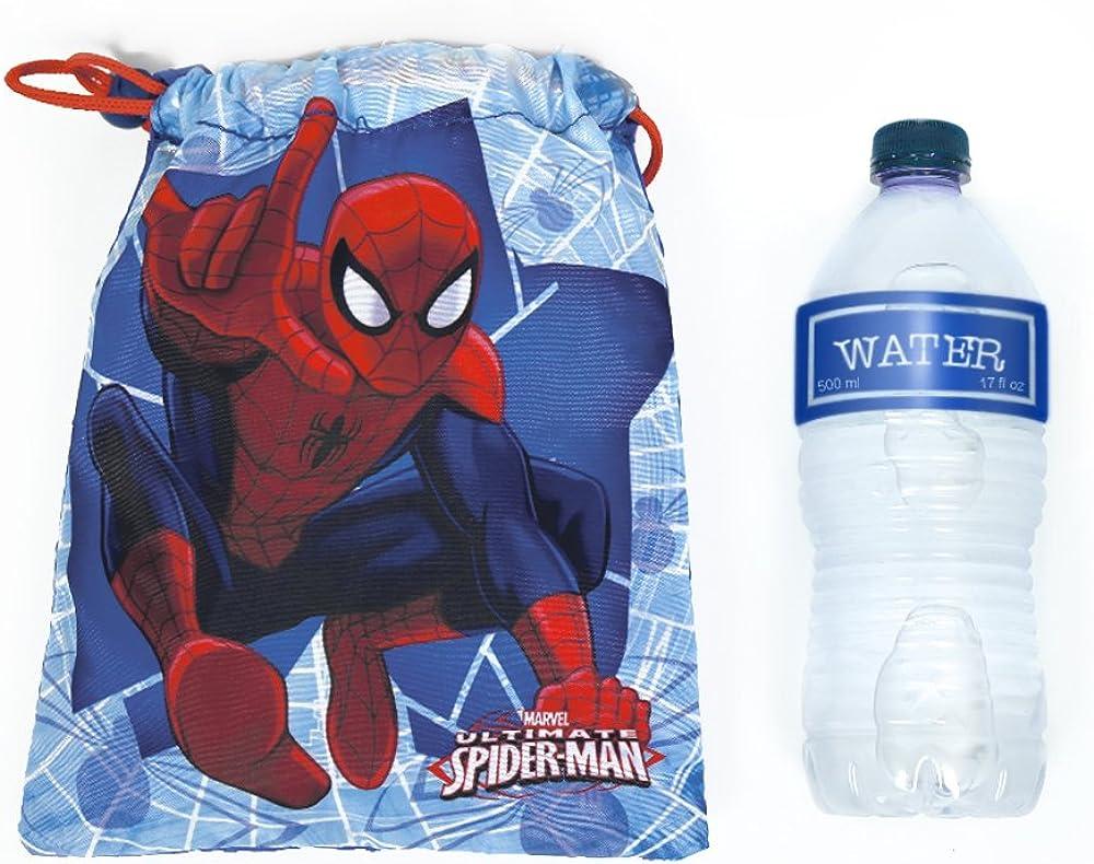 Organisateurs de voyage 23x20 cm Perletti Sac /à go/ûter b/éb/é Marvel Spiderman Mini Sac avec Cordon Homme Araign/ée Blue et Rouge