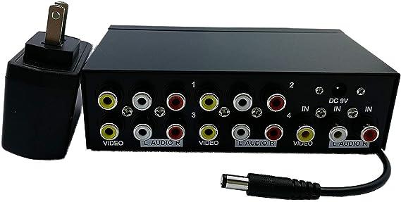 QiCheng&Start 1 en 4 hacia Fuera 3 AV RCA Audio Video Splitter Amplificador para Switch Box Cable DVD Dvr TV analógica 1X4 Puerto Splitter Compuesto 3 RCA AV Video Audio Switcher, Qicheng