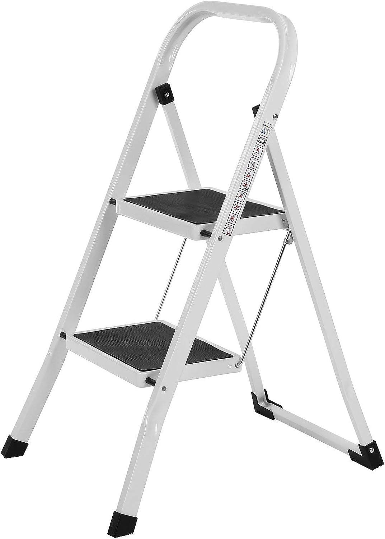 SONGMICS Escalerilla, Escalera Plegable Robusto 2 peldaños Hasta 150 kg, con Apoyabrazos Altura de trabajo 240 cm, certificado por TÜV Rheinland de acuerdo con el estándar EN14183 GSL12WT