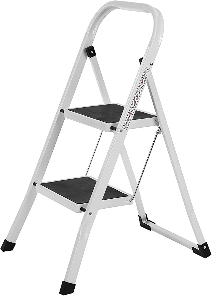 SONGMICS Escalerilla, Escalera Plegable Robusto 2 peldaños Hasta 150 kg, con Apoyabrazos Altura de trabajo 240 cm, certificado por TÜV Rheinland de acuerdo con el estándar EN14183 GSL12WT: Amazon.es: Bricolaje y herramientas