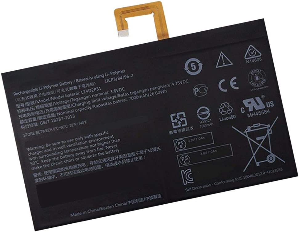 Powerforlaptop Replacement L14D2P31 Battery Compatible with Lenovo Tab 2 A7600-F A10-70F Tab2 A10-70 A10-70L Tablet TB2-X30 TB2-X30M 3.8V 7000mAh 26.6Wh