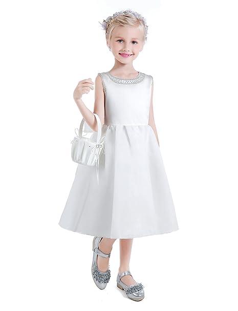 Erosebridal Abiti da Ballo Abito Prima Comunione Per Ragazze Vestito  Ragazza di Fiore Con Perline Bianca Dimensione 34  Amazon.it  Abbigliamento f083c1d1102