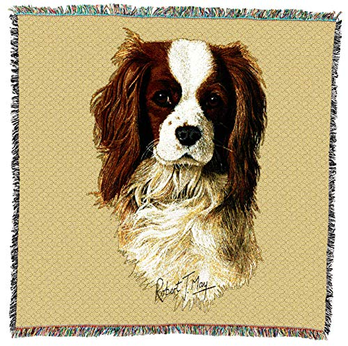 Pure Country Weavers - Cavalier King Charles Spaniel Dog Woven Blanket with Fringe Cotton USA 54x54