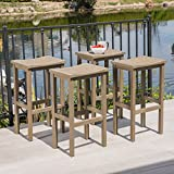 Christopher Knight Home 304159 Caribbean Outdoor Acacia Wood Barstools (Set of 4), Gray Finish For Sale
