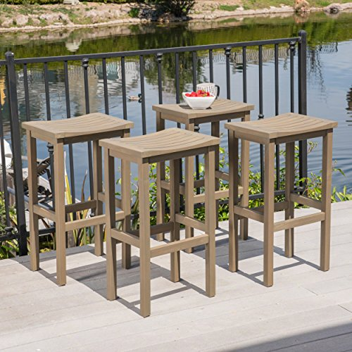 - Christopher Knight Home 304159 Caribbean Outdoor Acacia Wood Barstools (Set of 4), Gray Finish