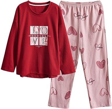 YYMMQQ Pijama Pijamas de algodón para Mujer Ropa de Dormir de otoño Ropa de hogar Manga Larga Casual Suelta Suave Tallas Grandes M-4XL Ropa de Dormir Conjunto de Pijama Femenino: Amazon.es: Ropa