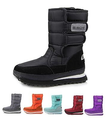 4876dfd9cba7 AARDIMI Mens and Women s Winter Mid Calf Snow Boot Fur Warm Waterproof  Frosty Snow Boot Slip