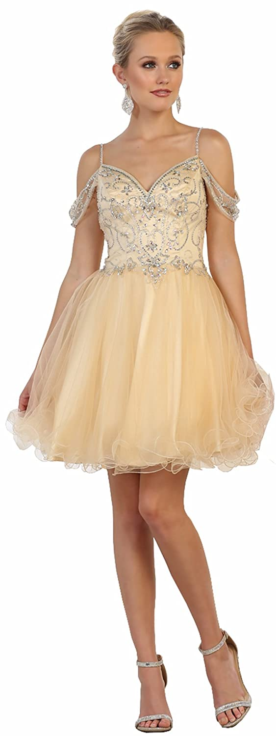 Champagne Formal Dress Shops Inc MQ1575 Prom Short Designer Dress