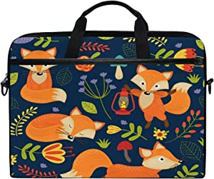 JOKERR Laptop Case Bag Animal Fox Flower Pattern 14 inch to 14.5 inch Briefcase Messenger Computer Sleeve Tablet Bag with Shoulder Strap Handle for boys girls