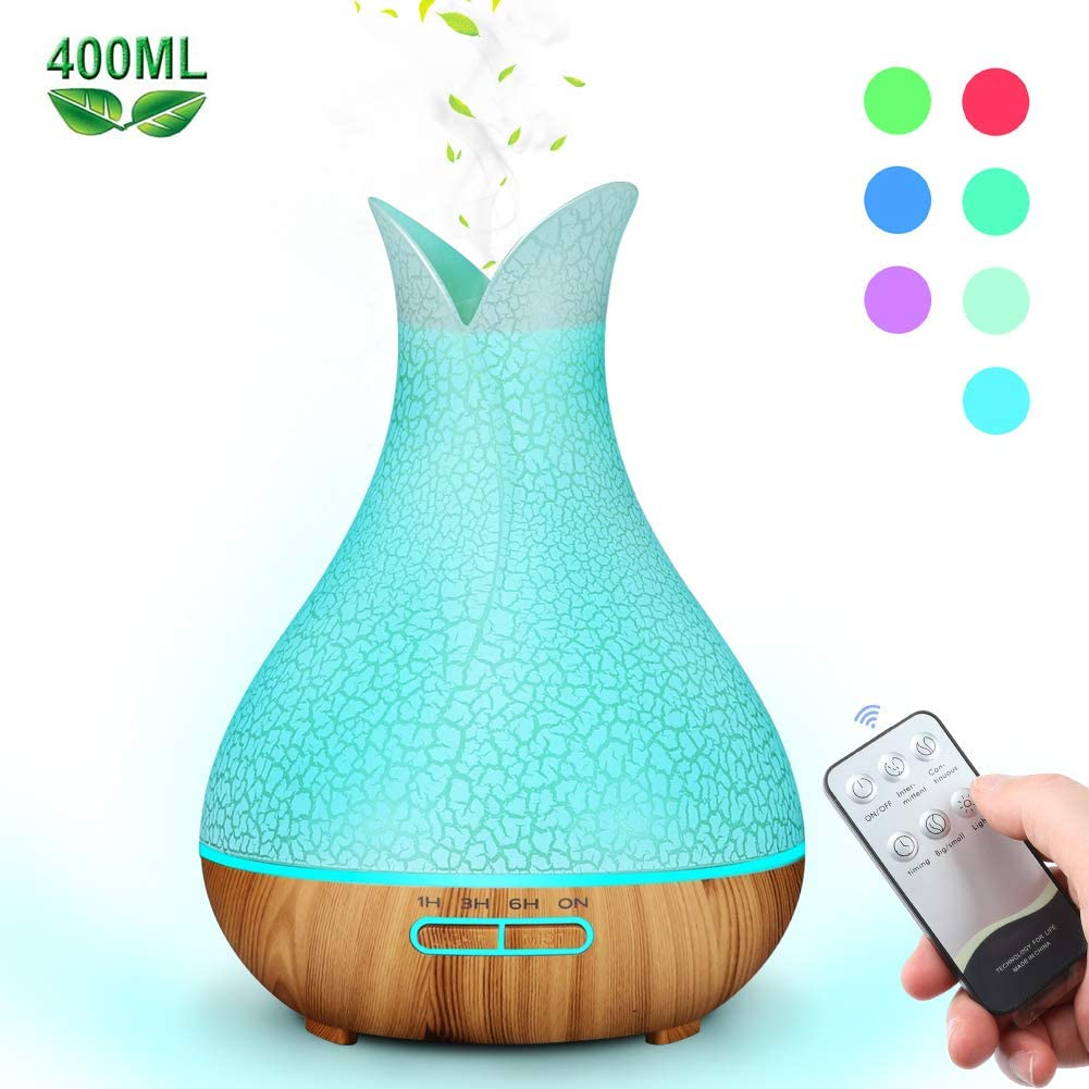 Mist Humidifiers for Bedroom BPA Free , 400ml Remote Control Essential Oil Diffuser with 7 Color Lights and 4 Timer, Quiet and Ultrasonic Humidifier for Bedroom Nightstand, Filterless, Auto Shut Off