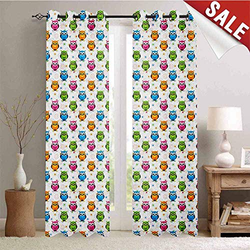 Flyerer Owls, Blackout Window Curtain, Lively Colored Fun Kids Cartoon Happy Mascots Colorful Pattern with Circles and Dots, Customized Curtains, W84 x L108 Inch Multicolor]()