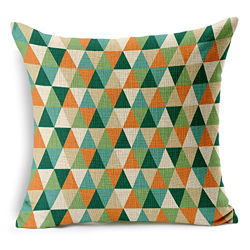 (SUSYBAO Luxury Quality Cotton Linen Square Canvas Decorative Throw Pillow Cover Pack of 1 for 18 x 18 Pillow Inserts in Sofa Home Car Couch(Colorful Triangle Geometry Pattern Style 15))