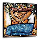 3dRose LLC dpp_21129_3 Flower Girl Mexican Art Colorful Wall Clock, 15 by 15-Inch