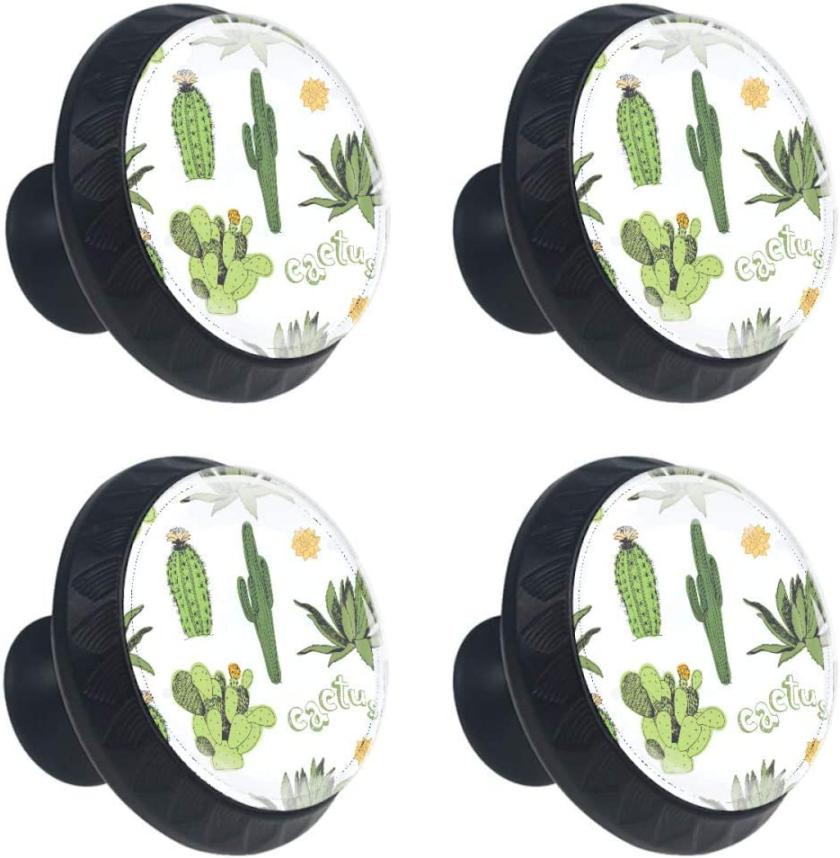 4 Pieces Set Cabinets Hardware Round Furniture Knobs Cactus in The Desert Print,Drawer Dresser Cupboard Wardrobe Pulls Handles for Home Kitchen