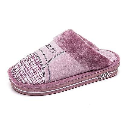 SHANGXIAN Mujer Suave Calentar Pantuflas Interior Algodón Sandalia Otoño Invierno Casa Anti-Slip Zapatos,