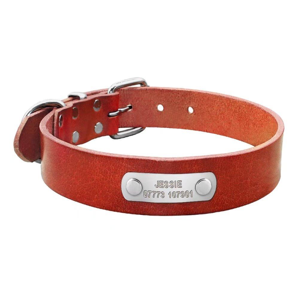 Collar de perro de cuero Berry personalizado, grueso, placa con grabado personalizado, para perros de tamaño pequeño, mediano y grande BerryPet