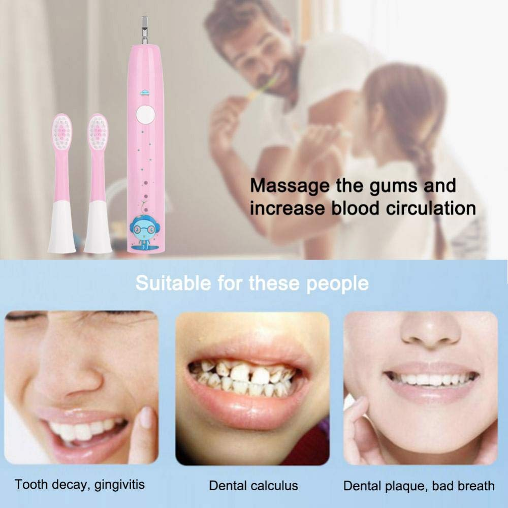 Electric Tooth Brush, Rechargeable USB Charge Teeth Cleaning Tool for Travel for Adults and Kids(Pink) by ZJchao (Image #6)
