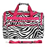 World Traveler Zebra 22-inch Travel Duffle Bag, Pink Trim