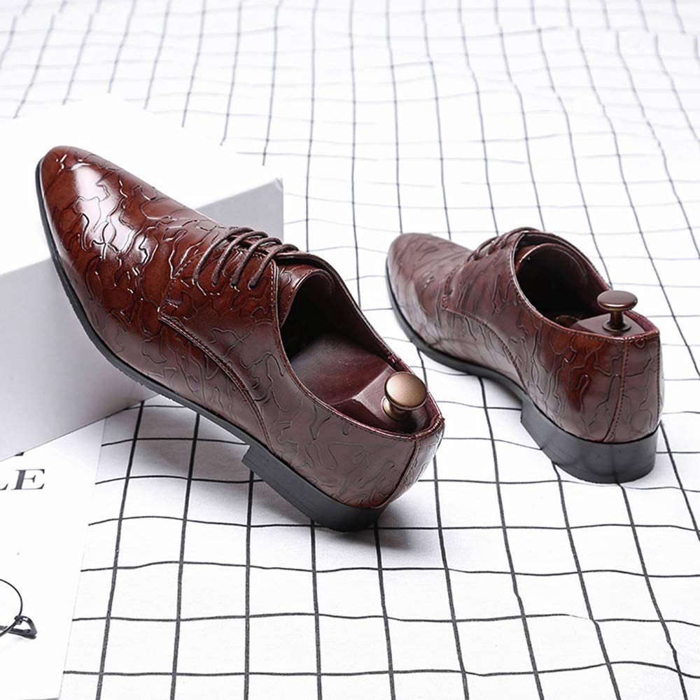 Leo Mens Leather Oxford Shoes Lace up Pointed-Toe Plus Size Business Casaul Shoes Size 7-13