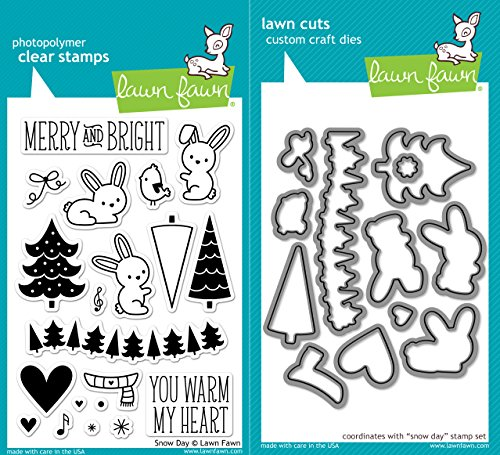 Lawn Fawn Snow Day Clear Photopolymer Stamps Bundle with Coordinating Lawn Cuts Dies LF723 LF724 (Lawn Fawn Bunnies)