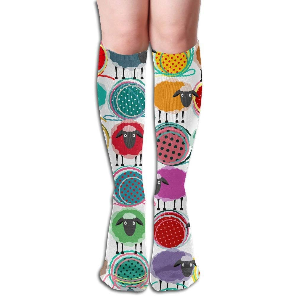 Cartoon Sheep Women's Fashion Knee High Socks Casual Socks Large beach pants