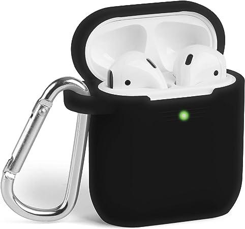 Coque Airpods étui Protecteur Airpods Gmyle Boîtier De Silicone Airpods Case Cover Avec Mousqueton Pour Apple Airpods 1 2 Noir Amazon Fr High Tech