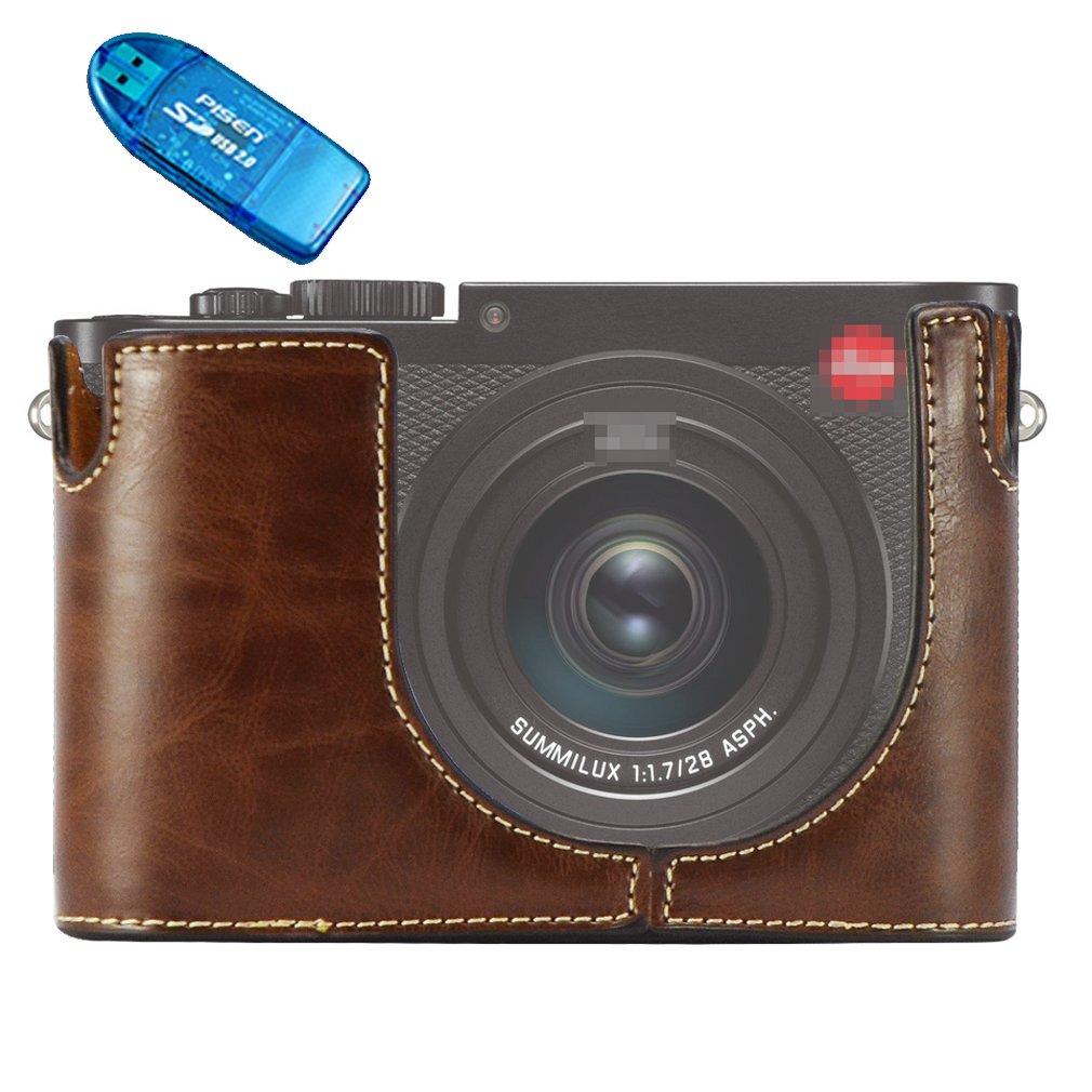 First2savvv Custodia Fondina in pelle sintetica per macchine fotografiche reflex compatibile con Leica Q nero XJPT-LeicaQ-D01
