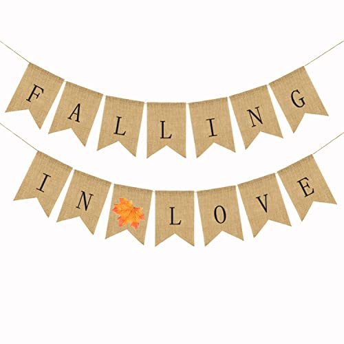 jute burlap falling in love banner fall wedding shower bridal shower engagement party decoration