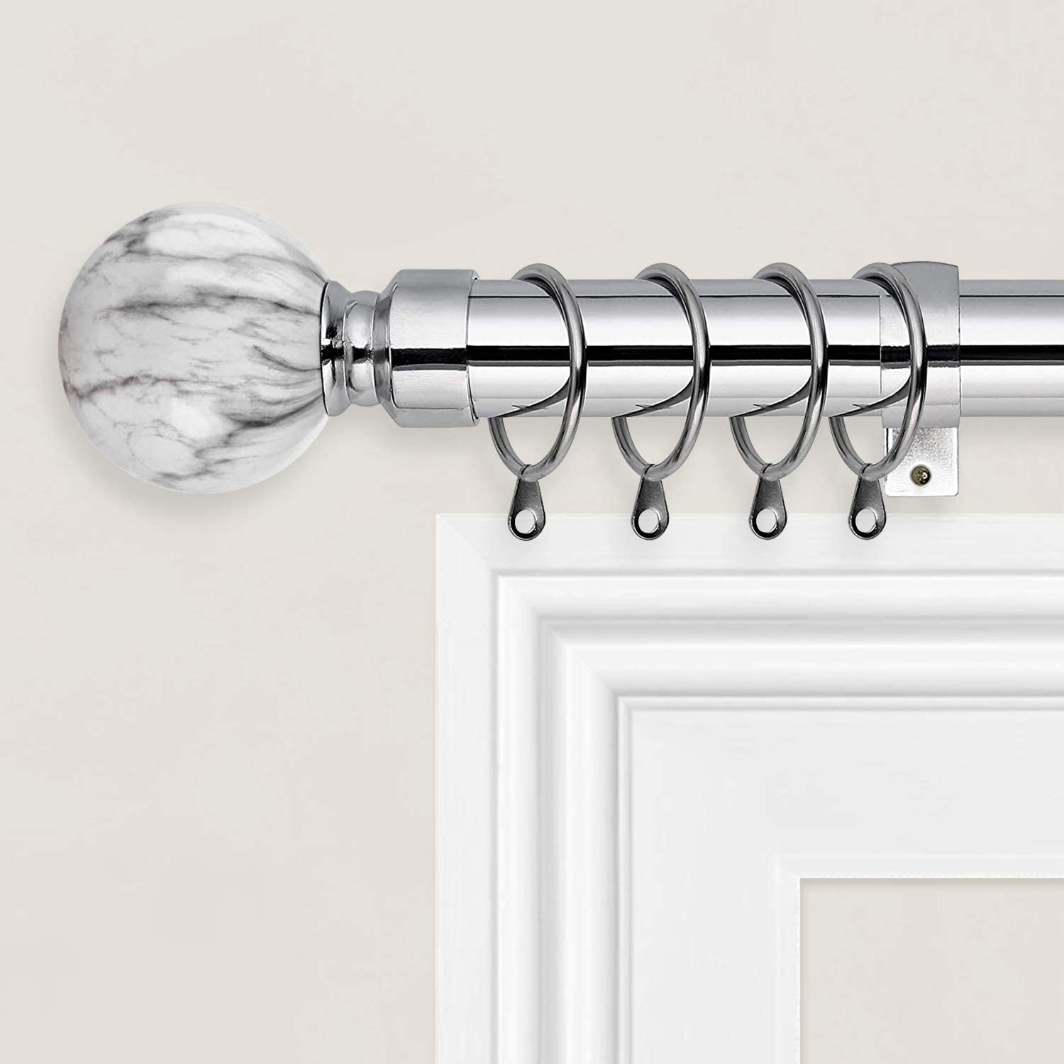 Oxford Homeware Curtain Pole Extendable (Chrome, 70-120 Cm, 28-48 Inches) - Includes Marble Ball Finials, Rings, Brackets & Fittings Set