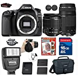 Canon EOS 80D Digital SLR Camera + 18-55 ISSTM Lens+ Canon EF 75-300mm f/4-5.6 III Telephoto Zoom Lens+ 9 piece Deluxe Accessory Professional