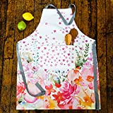 100% Cotton Digitally Printed Watercolor Apron With Visible Pocket. Kitchen Chef Aprons for Women. Perfect gift. 28-inch x 36-inch. French Designs - Fleurette Collection, by Vous Du Rivage