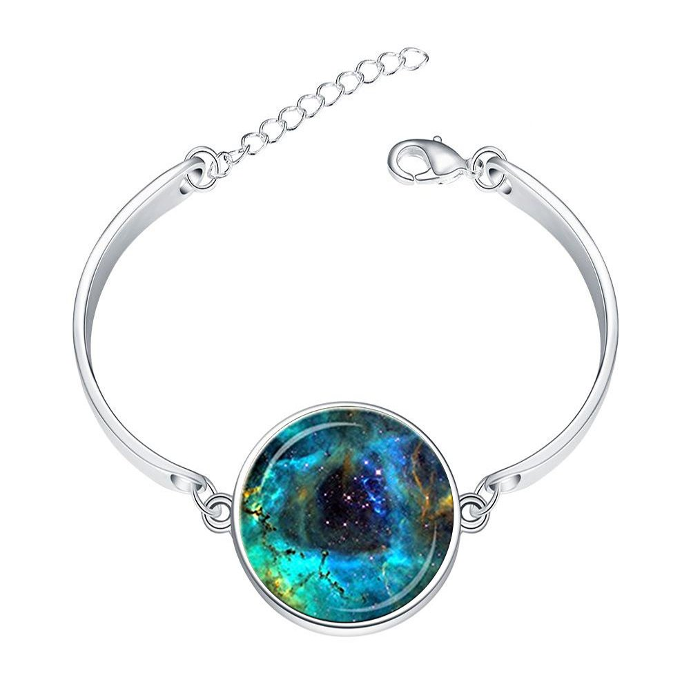 DOME-SPACE Adjustable Silver Bracelets Rosette Nebula Navy Blue Teal Astronomy ScienceHand Chain Link Bracelet Clear Bangle Custom Glass Cabochon Charm