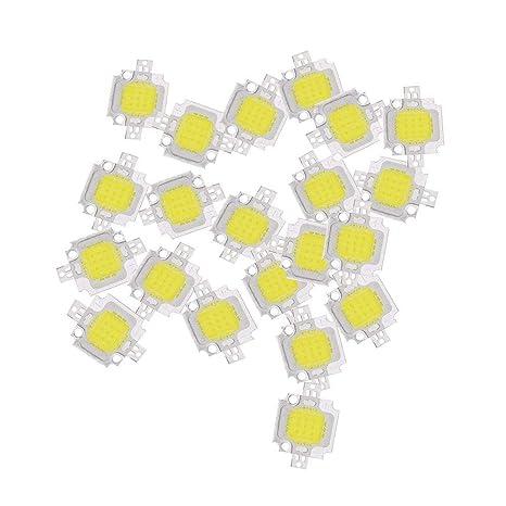 Hemore (R) 20pcs 10W LED Puro Blanco de alta potencia 1100lm LED lámpara SMD chip bombilla de luz DC 9-12V - - Amazon.com